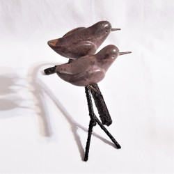 fair trade carved springstone and metal bird sculpture from Zimbabwe