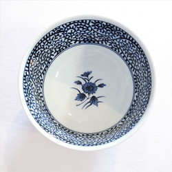 fair trade blue and white floral stoneware ceramic noodle or ice cream bowl from Japan