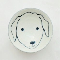 Fair trade painted bowl with labrador from Japan