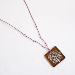 fair trade tree of life fused glass pendant
