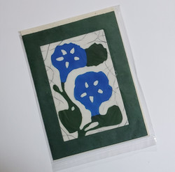 fair trade morning glory batik note card from Nepal