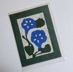 fair trade morning glory batik note card from Nepal