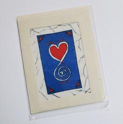 fair trade love heart batik note card from Nepal