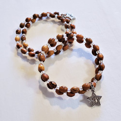 Fair trade olive wood bead wrap bracelet with star and cross charm from the Holyland