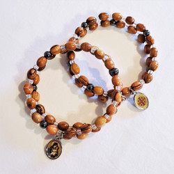 Fair trade olive wood bead wrap bracelet with Mary holding Jesus charm from the Holyland