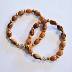 Fair trade olive wood bead elastic stretchy bracelet from the Holyland
