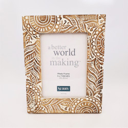 Fair trade whitewashed mango wood picture frame from India