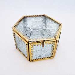 Fair trade embossed glass and brass box from India
