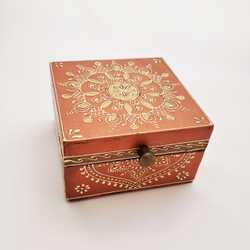 Fair trade hand painted wood box from India