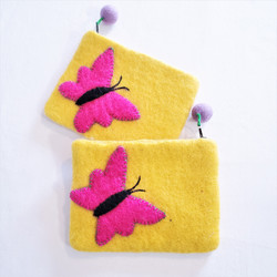 fair trade felted wool butterfly coin purse from Nepal