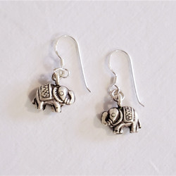 Fair trade tribal silver elephant dangle earrings from Thailand