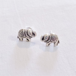 Fair trade tribal silver elephant post earrings from Thailand