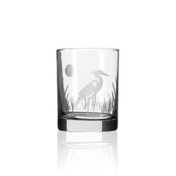 Heron etched double old fashioned drinking glass from United States