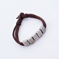 fair trade leather and silver bead bracelet from India