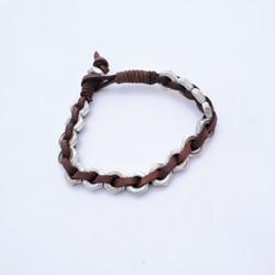 fair trade leather and washer bracelet from India