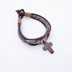 Fair trade brown leather bracelet with cross from India