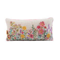 fair trade embroidered wildflower pillow from India