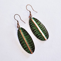 fair trade oxidized copper patina dangle earrings from India