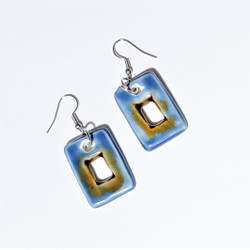 Fair trade enameled ceramic earrings from Chile
