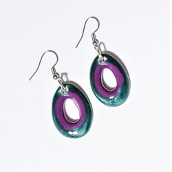 Fair trade enameled ceramic earrings from Chile