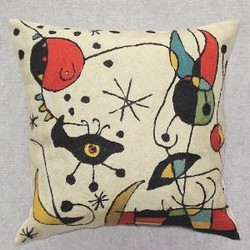 Fair trade chainstitch embroidery pillow with spaceship from India