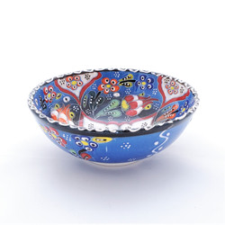 Fair trade relief style hand painted ceramic bowl from Turkey