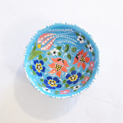 Fair Trade Relief Style Hand Painted Ceramic Dipping Bowl Dish from Turkey