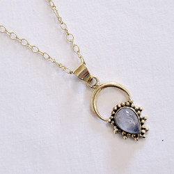 fair trade brass and moonstone pendant necklace from India