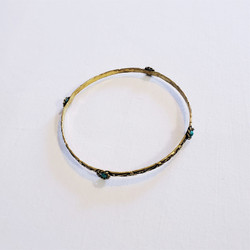 Fair trade brass and turquoise bangle bracelet from India