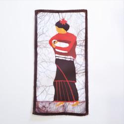 Fair trade Newar woman and child batik wall art from Nepal