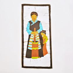 Fair trade Tibetan woman and child batik wall art from Nepal