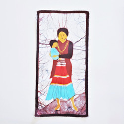 Fair trade Western Tamang woman and child batik wall art from Nepal