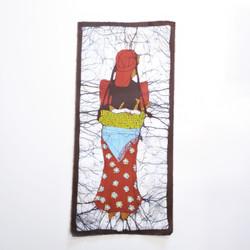 Fair trade Sunuwar woman and child batik wall art from Nepal