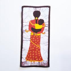 Fair trade Chhetri woman and child batik wall art from Nepal