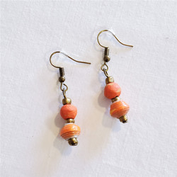 Fair trade clay and rolled paper dangle earring from Haiti