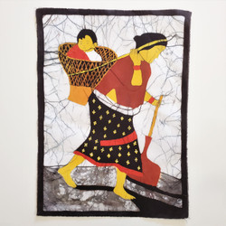 Fair trade batik woman carrying child in basket wall art from Nepal