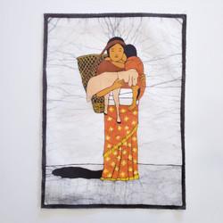 Fair trade batik woman carrying child wall art from Nepal