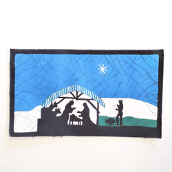 Fair trade batik nativity scene wall art from Nepal