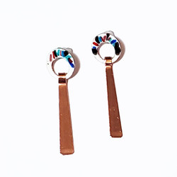 Fair trade enameled copper long dangle post earring from Chile