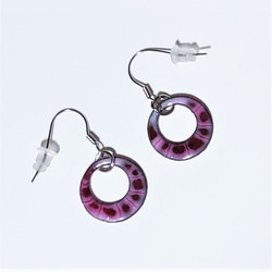 Fair trade enameled copper dangle earring from Chile