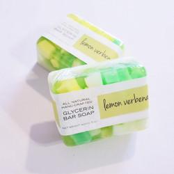 hand made lemon verbena glycerin bar soap