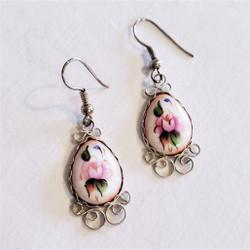 fair trade finift painted enamel dangle earrings from Russian Federation