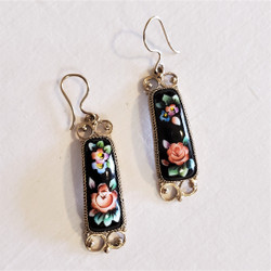 fair trade black lacquer dangle earrings from Russia