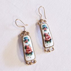 fair trade white lacquer dangle earrings from Russia