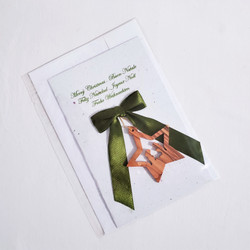 fair trade handmade paper christmas greeting card with olivewood nativity ornament from Palestine