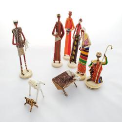 Fair Trade Banana Fiber and Kente Cloth Nativity from Kenya