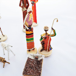 Fair Trade Banana Fiber and Kente Cloth Nativity from Kenya