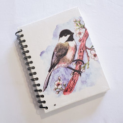 Fair Trade Elephant Pooh Paper Spiral Journal with Chickadee from Sri Lanka