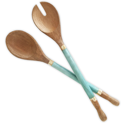 fair trade capiz shell and durian wood salad servers from Bali and Java, Indonesia
