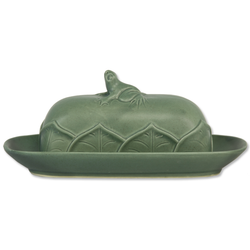 fair trade celadon frog ceramic butter dish from Bali